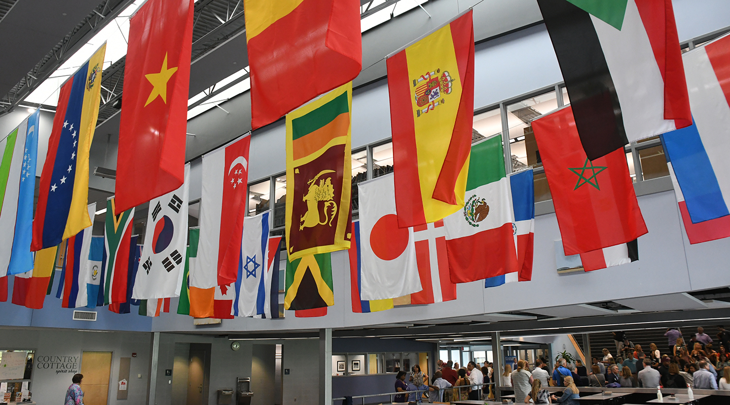Flags representing the countries where Country Day families are from.